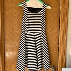 Black and white striped fit and flare dress